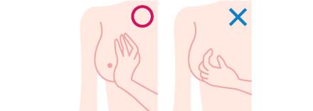 次に指の腹で軽く押しながら内側から外側まで触れます