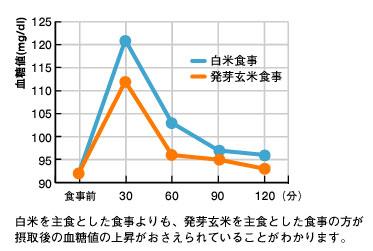 白米と比べ玄米を食べた方が食後の血糖値の上昇が緩やかです