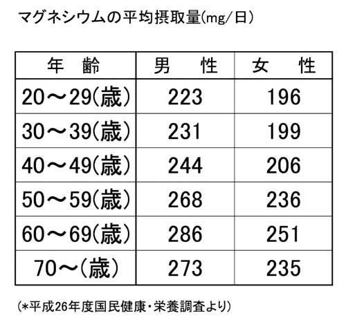 マグネシウムの1日の摂取量平均