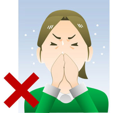 くしゃみの時に手で口を押さえますが本当は良くない